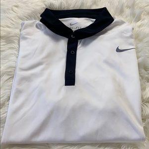 Nike Dri-Fit White and Black Golf Polo